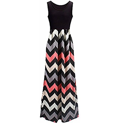 [Womens Zig Zag Scoop Neck Wave Striped Tank Maxi Long Dress (XX-Large, Black)] (Maternity Jersey Dress)