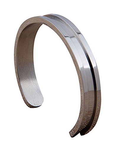 Womens 9mm Wide Stainless Steel Grooved Cuff Bangle Bracelet