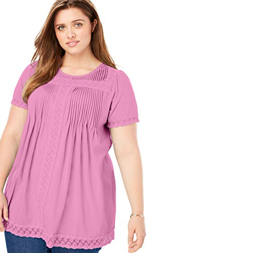(Woman Within Women's Plus Size Lace Trim Pintucked Tunic - Seaside Pink, 1X)