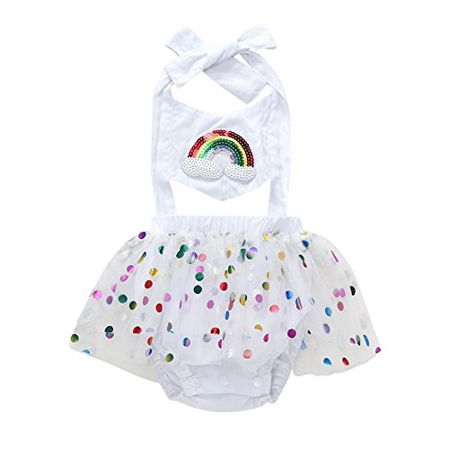 Alalaso Fashion lovely Girl Rainbow Sequins Bowknot Dress Yarn skirt Mini Dress (80) by Alalaso
