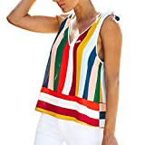 Respctful✿Women Fashion Sleeveless Rainbow Print Casual Tank Tops Pleated V Neck Tanks Vest Summer