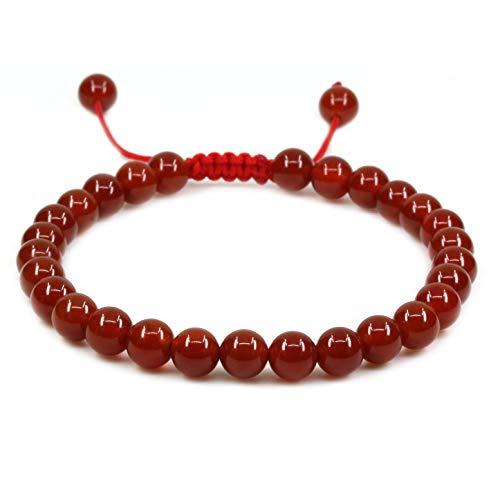 (Natural AA Grade Red Agate Gemstone 6mm Round Beads Adjustable Bracelet 7