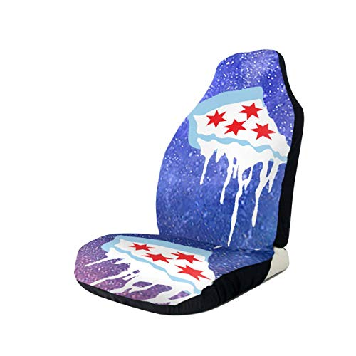 TAK-JK6 Car Seat Covers Chicago Flag As Pizza Front Seat Protectors Cushion Compatible with Most Cars Truck SUV Van 2 PCS (Best Deep Dish Delivery Chicago)