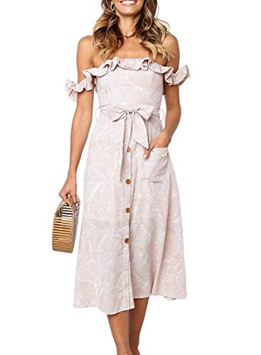 Dokotoo Womens Fashion Bohemian Ladies Off The Shoulder Strapless Leaf Printed Ruffle Front Pockets Button Down Tie Waist Midi Swing A Line Fit and Flare Flowy Dress