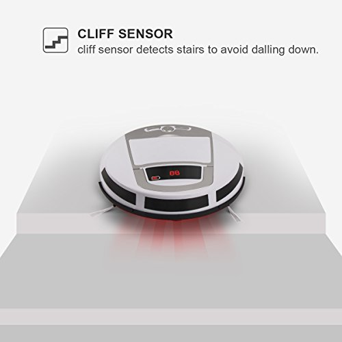 Robotic Vacuum Cleaner, Rechargeable Robotic Vacuum with Strong Suction and HEPA Double Filter, Anti-Cliff and Anti-Bump Sensor Robot for Pet Hair, Fur, Allergens, Thin Carpet, Hardwood and Tile Floor by FORTUNE DRAGON (Image #4)