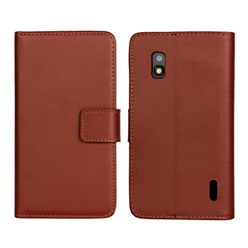 Price comparison product image MNtech Magnetic Leather Wallet Stand Flip Cover Case Holder For LG Nexus 4 E960 (Brown)