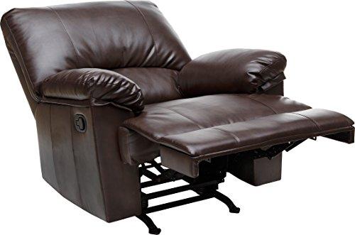Relaxzen Rocker Recliner, Brown Marbled Leather