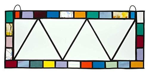 (Beveled Glass, Panoramic Glass, Colorful Border, Handmade Glass Panel, Handmade Stained Glass Panel)