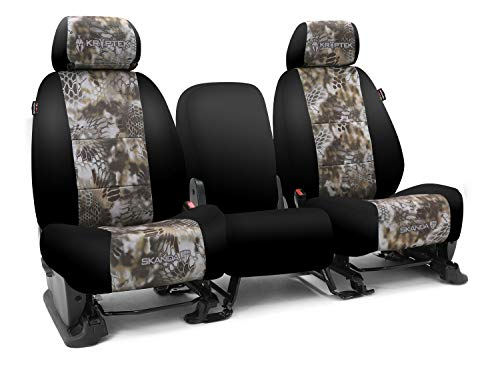 Third Row SEAT: ShearComfort Custom Kryptek Neo-Supreme Seat Covers for Chevy Tahoe (2007-2008) in Black w/Kryptek Neo-Supreme Banshee for 50/50 Split 2 Person Bench w/Adjustable Headrests and