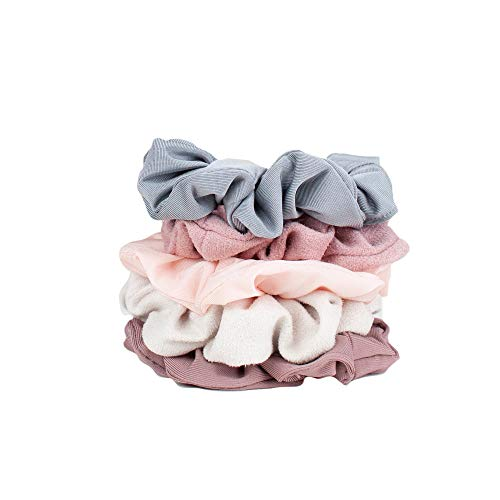 Hair Scrunchies for Women- 5 pack- Includes Velvet Scrunchies for Ponytails, Braids and Buns (Pastel/Blush/Mauve)