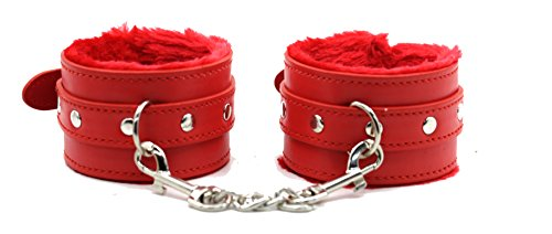 Costumes Sex Porn (Fillmore Rose Garden Fuzzy Handcuffs For Sex Fashion Party Adjustable Sexy Girl Restraint Bondage Wristband Handcuffs SM Lovers for Sex Play (RED))