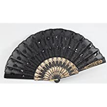 Chinese Japanese Silk Lace Floral Butterfly Wooden Cat Paper Folding Hand Pocket Fans & Stand (D13425-1)