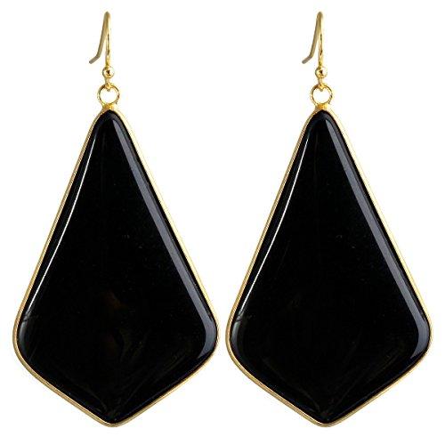 SUNYIK Women's Black Agate Large Rhombus Dangle Earrings by SUNYIK