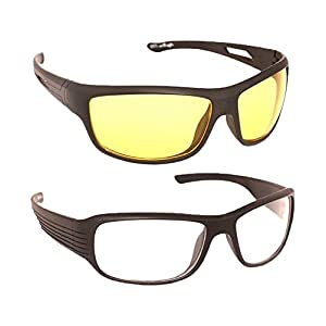 Younky Day And Night Vision Goggles for Riding Bikes Combo Pack of Driving Sunglasses for Men Women Boys & Girls (Clear…