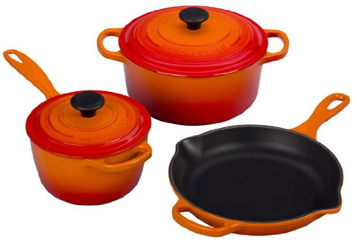 Le Creuset Signature 5-Piece Cast Iron Cookware Set, Flame