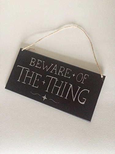 CAROLJU Beware of the Thing Wooden Hanging Sign/Halloween -