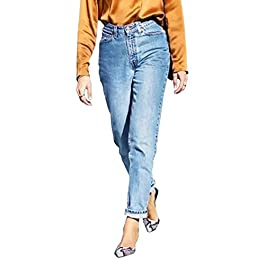 Straight Fit High Waisted Boyfriend Jeans for Women