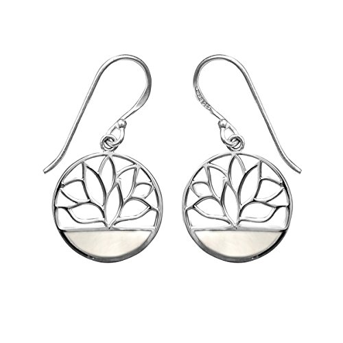 Boma Jewelry Sterling Silver Mother of Pearl Lotus Flower Dangle Earrings ()