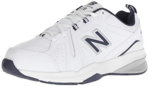 New Balance Men's 608v5 Casual Comfort Cross Trainer Shoe, White/Navy, 10.5 XW US
