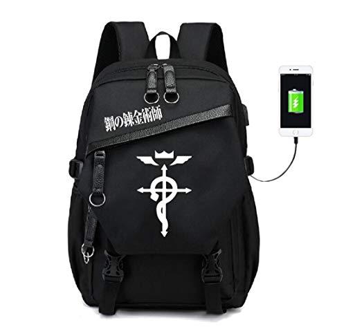 YOYOSHome Luminous Fullmetal Alchemist Anime Cosplay Daypack Bookbag Laptop Bag Backpack School Bag with USB Charging Port (3) - Alchemist Full Bag Metal Messenger