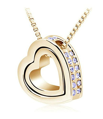 Necklace Chain Extender Double Heart Pendant Sweater Chain Necklace Charm Women Jewelry Gold - Asheville Outlets