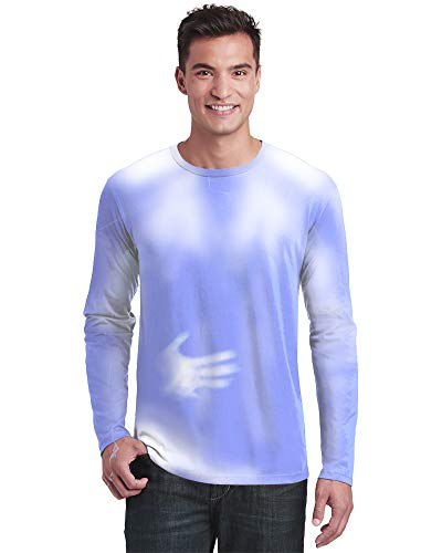 (Shadow Shifter Adult Men's/Unisex Color Changing Long Sleeve T-Shirt Heat Sensitive (Medium, Blue to White))