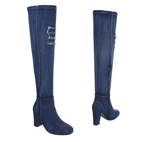 Bleu Bottes Bottes et Design Ital Kitten Heel bottines Cuissardes femme Chaussures PfaFx