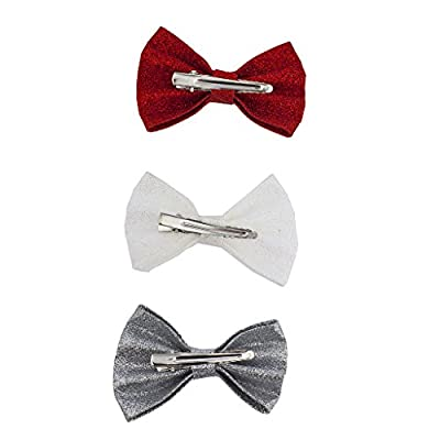 Lux Accessories Women' s Girl's Canvas Hair Bow Alligator Clip 3pc Set