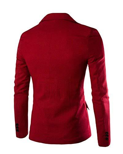Outwear Autunno Sportiva Giacche Bottone 1 Fit Ragazzi Slim Leisure Winered Elegante Giacca Suit Uomo Classiche Da Xwxzq7qTFv