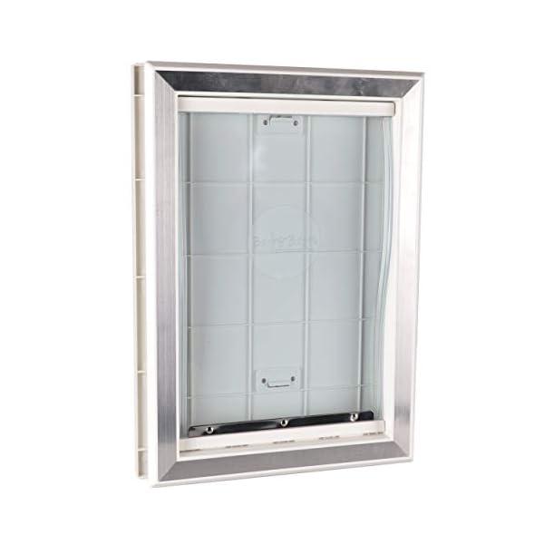 BarksBar Original Plastic Dog Door with Aluminum Lining – White, Soft Flap, 2-Way Locking Sliding Panel and Telescoping…