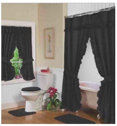 Image Unavailable Not Available For Color Home Fashions Black Double Swag Shower And Window Curtain Set