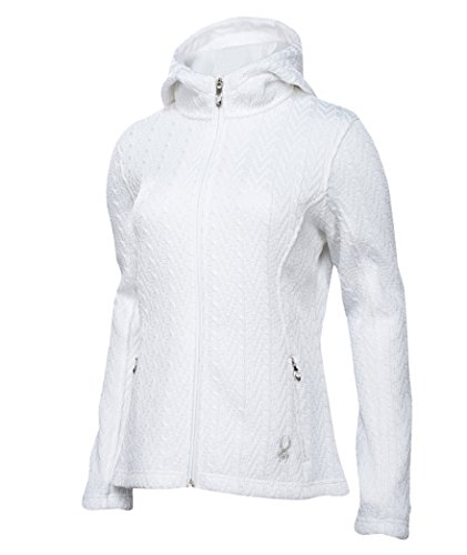Spyder Women's Major Hoodie Cable Core Sweater, White, Small