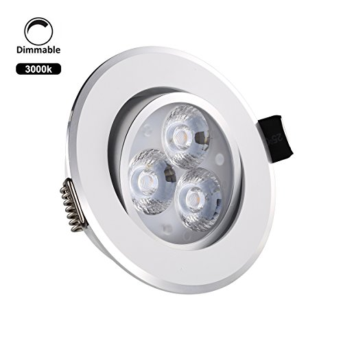 Light Wood Trim (ProGreen Dimmable 110V 3W 3.3-Inch LED Recessed Lighting Fixture, 30W Halogen Bulbs Equivalent, LED Driver Included, 400lm, Warm White, 3000K, Recessed Ceiling Lights, LED Downlight (3W,)