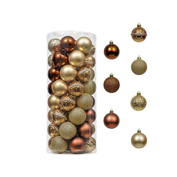 Valery Madelyn Palle di Natale 50 Pezzi 6 cm Palline di Natale, Rame Essenziale e Oro, Ornamenti di Palla di Natale Infrangibili di Base per la Decorazione Dell'Albero di Natale 1 spesavip
