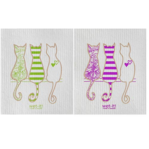 Wet-It! Swedish Dishcloth Set of 2-2 Different Cat Designs Purple and Green - New