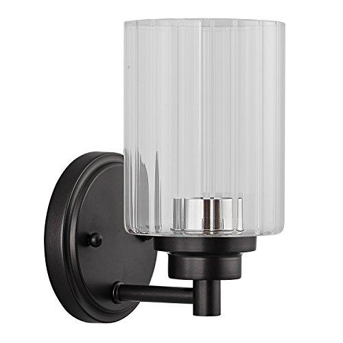 Clear Glass Wall Sconce Light Fixture1/3 Globe Vanity Bath Light (Black,1 Light)