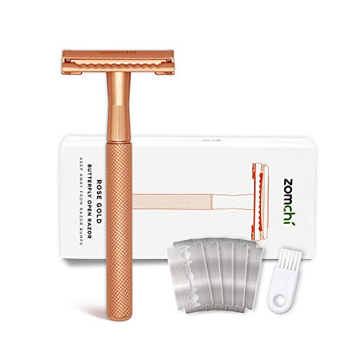 Butterfly Open Safety Razor for Women, Safety Razor with 5 Blades, Women Razor with a Delicate Box, Fits All Double Edge Razor Blades,Free of Plastic (Rose Gold)