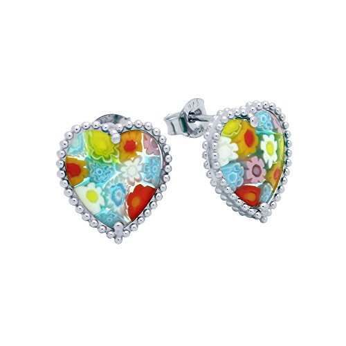 Heart Shaped Multicolor Murano Millefiori Glass Bezel Beads Stud Earrings Rhodium Plated 925 Sterling Silver