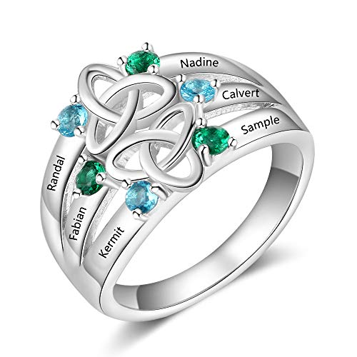 Personalized Mothers Rings with 6 Simulated Birthstones Rings for Women Engraved Family Name Rings for Grandmother Promise Rings for Her Custom Mother's Day Ring (7) ()