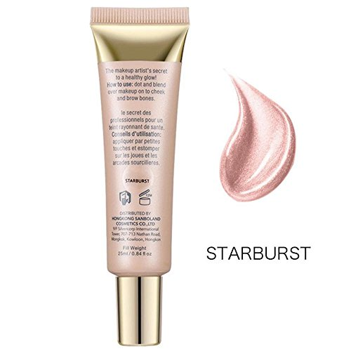 FTXJ 25ml Shimmer Liquid Highlighter Makeup Face Cheeks Nose Highlight Cream (Starburst(Suit for White Color Skin)) Face Creams Cosmetics