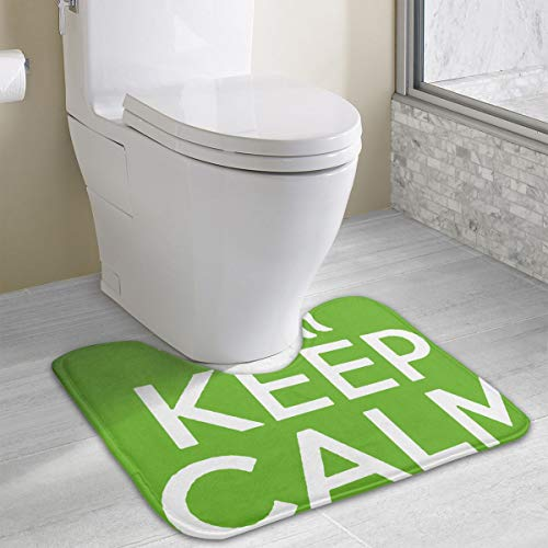 BOOM-BM Keep Calm and Love Cows Contour Bath Rugs Non-Slip Soft and Absorbent Memory Foam U-Shaped Bathroom Bath Mats Rug Carpet -