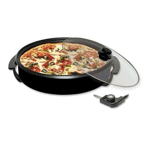Paellero PizzaPan Horno Electrico con Termostato y tapa con Valvula 32 cm.: Amazon.es: Hogar