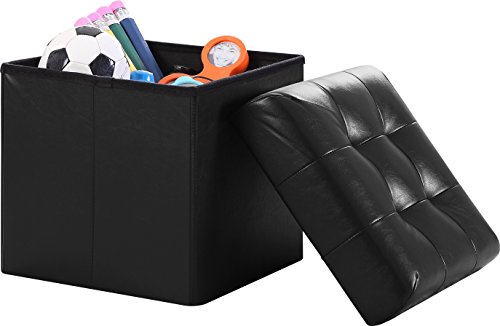- Ornavo Home Foldable Tufted Faux Leather Storage Ottoman Square Cube Foot Rest Stool/Seat - 15