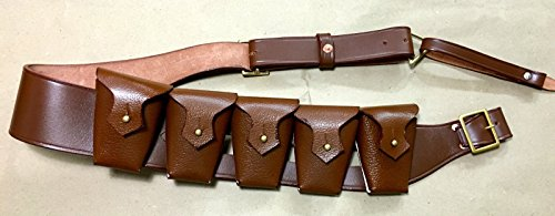 RIGHT SHOULDER UK 1903 Pattern Leather Cavalry Bandolier - 5 Pocket JAWA COSTUME (Repro)]()