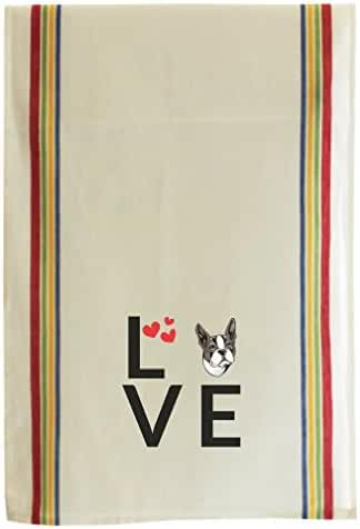 BOSTON TERRIER DOG Love Hearts Cotton Retro Stripe Dish Kitchen Towel Multi Stripe