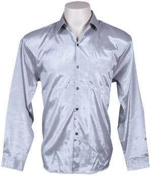 Camisa de manga larga de seda tailandesa para hombres, color plateado (talla M): Amazon.es: Hogar