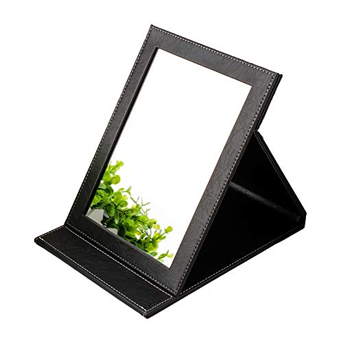 Size 8.07-5.9in, Compact & small stand-up Travel vanity Millor, Slim PU Leather, Handheld Making Up Mirrors, Tabletop Desktop mirror, Famiry Personal Beauty Portable Folding Makeup Mirrors with stand