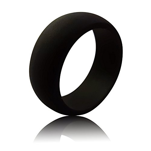 Men's Silicone Wedding Band by Rubber Diamonds - The Safe Wedding Ring Replacement for Active Lifestyles Black 15 ()