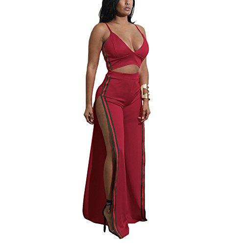 Aro Lora Women's Sexy 2 Pieces Set V Neck Crop Top + Side Slit Wide Leg Pant Jumpsuit Romper Large Wine Red (2 Piece Sexy Set)