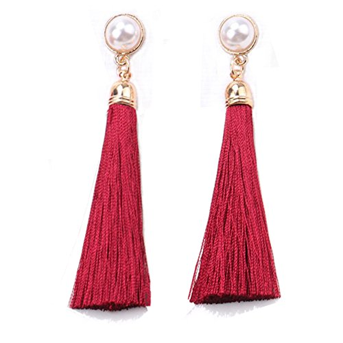 Pearl Thread Earrings - Women Colorful Thread Tassel Earrings with Pearl Drop Earrings Dangle (Wine Red)